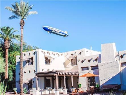 THe Goodyear Blimp over the Organization House